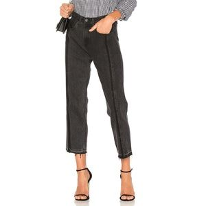 NWT Rag & Bone 2 Tone Crop Jeans in Black Magnolia